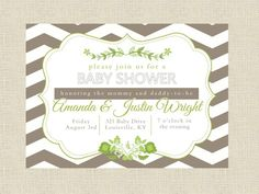 THis one might work w/o the flowery stuff....Chevron Stripe Baby Shower Invitation - Couples Shower. $27.00, via Etsy.