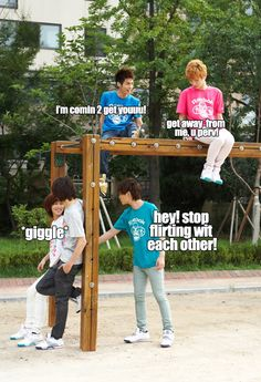 SHINee = A bunch of kids... Jonghyun is the perv, Key is the PrimaDonna, and Onew is jealous because Taemin and Minho are having too much fun by themselves over there...
