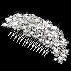 Vintage Silver Bridal Wedding Crystal Diamante Hair Comb Fascinator Bridal