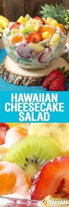 Hawaiian Cheesecake Salad comes together so simply with fresh tropical fruit and a rich and creamy cheesecake filling to create the most glorious fruit salad ever! Every bite is absolutely bursting with island flavor and you are going to go nuts over this Dessert Aux Fruits, Dessert Salads, Fruit Salad Recipes, Cheesecake Fruit Salad, Cheesecake Pudding, Hawaiian Cheesecake Salad Recipe, Jello Salads, Creamy Fruit Salads, Fruit Salad Dressings
