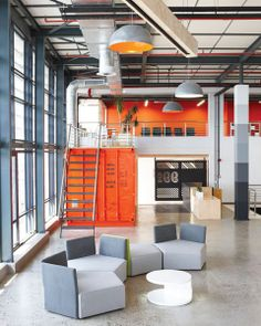 offices by Inhouse Brand Architects features a waiting room inside a shipping container - Office Inspo 7 Office Space Design, Industrial Interior Design, Workplace Design, Office Interior Design, Office Spaces, Industrial Workspace, Industrial Chic, Warehouse Office Space, Open Space Office