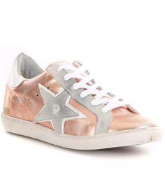 60c6c8bbbec7 $128 NEW Freebird by Steven 927 Rose Gold Metallic Leather Star Sneakers  Shoes 9 #FreebirdBySteven
