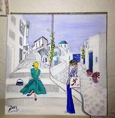 Ballade à Santorin, acrylique sur toile coton blanc : Décorations murales par danetgeo