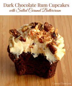 Dark Chocolate Rum Cupcakes {with Salted Caramel Buttercream}