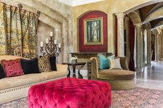 Rich colors give a luxurious touch to this seating area completed by The Design Firm. #luxeHouston