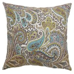 Cozy and vibrant, this throw pillow comes with a lovely paisley print pattern. Rich colors of chocolate brown, blue, white and green creates a beautiful detail. Welcome your guests with this plush accent pillow and place it on your sofa, sectionals, window seat and more. This square pillow is made from 100% soft cotton fabric. $55.00  #pillows  #homedecor  #throwpillow  #tosspillow  #paisley