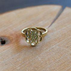 Flower of life ring geometric ring geometric brass ring