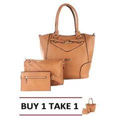 Elena 5390A Shoulder Bag with Sling Bag and Wallet (Apricot) Buy1 Take1