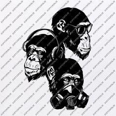 Monkey Svg File-monkey Svg Design-Clipart-Animals Svg File-Animals Png-Monkey Vector Graphics-Svg For Cricut-For Silhouette-DXF-EPS Bulldog Images, Clips, Cut Shirts, Vector Graphics, Svg File, Overlays, Monkey, Print Design, Cricut