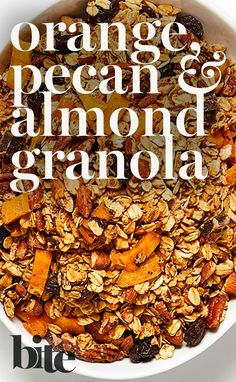This crunchy concoction of dried zesty oranges, tropical mangoes, sweet cherries, rich dark chocolate, nutty pecans and chopped almonds makes for the perfect breakfast or satisfying snack. #healthysnackideas #breakfastrecipes #fallrecipes #holidayrecipes #homemadegranola #DIY #glutenfreegranola