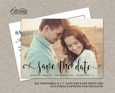 Photo Save The Date Postcard With Elegant Handwriting Script Font | Double Sided. By iDesignStationery Via Etsy