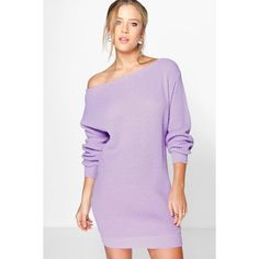 Boohoo Cara Slash Neck Fisherman Jumper Dress ($26) ❤ liked on Polyvore featuring dresses, tops, violet, layering cami, special occasion dresses, bodycon cocktail dress, bodycon dress and holiday dresses