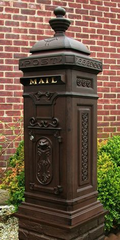 Ecco Mailboxes | Victorian Tower Rear Access Mailbox - Rust Brown | Residential Mailbox