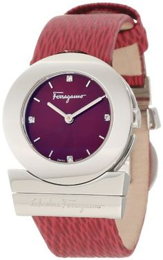 Ferragamo Women`s F56SBQ9926 S006 Gancino Stainless-Steel Red Leather Watch $796.25