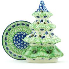 Polish Pottery 6-inch Christmas Tree Candle Holder | Boleslawiec Stoneware | Polmedia H4910H | Polmedia