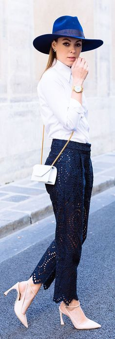Margo & Me Midnight Blue Eyelet Trousers