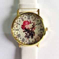 Ships Worldwide Type: Quartz  Wrist Size: Adjustable from 17 cm to 21 cm (6.69 inches to 8.26 inches)  Display: Analog  Dial Window Material: Glass  Case Material: Metal  Case Diameter: 3.9 cm (1.53 inches)  Case Thickness: 0.7 cm (0.27 inches)  Band Material: PU Leather  Band Width: 2.0 cm (0.748inches)  Band Length: 24 cm (9.44 inches)  Band Color :tan,black, white , please choose upon checkout    Payment: Paypal Shipping : I make your watches in 7 to 10 business days. These watches are…