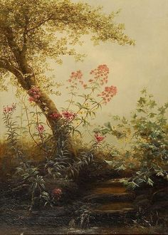 Forest Stream With Flowering Foliage by Jerome Thompson -- more excellent flowers, like the height William Hart, Martin Johnson Heade, Thomas Moran, Frederic Remington, Robert Scott, Albert Bierstadt, Winslow Homer, 19th Century, Gallery