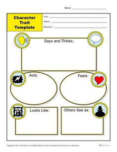 Character Traits Worksheet Template - This character trait worksheet include 5 graphic sections that students complete, to describe traits of a particular character: Says and Thinks, Acts, Feels, Looks Like, and Others See As.