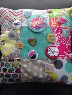 Pillow from old pattern swatches.