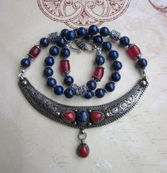 Kosmic Forces  Nepalese Silver Pendant Lapis Lazuli by JKDKdesigns, $120.00