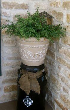 Milk Can and planter for porch via twelve oaks manor