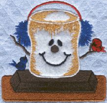 Threadsketches' set Camp Christmas- Christmas machine embroidery design, s'more with birds