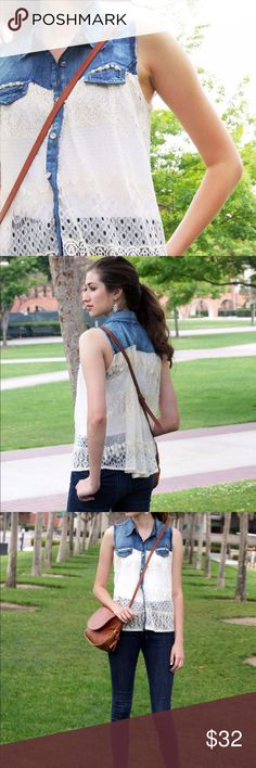 Denim and Lace Contrast Top Brand new, denim and lace contrast top. Super cute eyelet detailing in the lace. It comes in the original packaging. S, M, L, & XL sizes available -- select your size at checkout! Fits true to size. **price is firm, no trades** Tops Blouses
