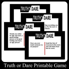 Teen Truth or Dare Questions, Suggestions, and Games