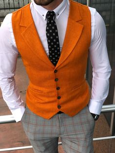 Collection: Spring – Summer 19 Product: Slim Fit Vest Color Code: Orange Available Size : Vest Material: cotton, Linen Machine Washable: No Fitting: Slim-Fit Package Include: Vest Only Mens Fashion Wear, Suit Fashion, Tailored Fashion, Slim Fit Suits, Workout Vest, African Men Fashion, Suit Vest, Fitted Suit, Sewing Clothes