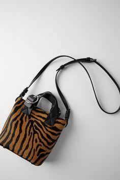 ZARA - Female - Animal print leather mini shopper bag - Multicolor - M Shopper Bag, Tote Bag, Zara Home Stores, Mini, Bucket Bag, Monogram, Purses, United States, Woman Shoes