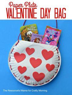 Paper Plate Valentine Bag Craft for Kids #ValentinesDay #VDay #craft