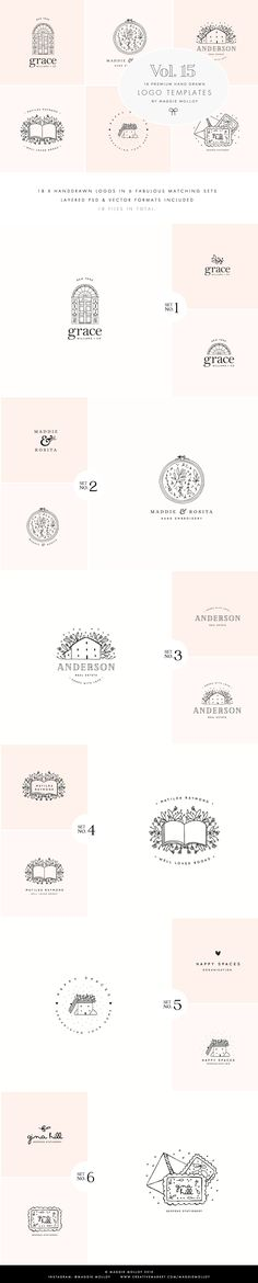 Feminine Premade Logo Bundle Vol. 15 - Logos - Feminine and rustic illustrations and pre made logos, perfect for crafters, DIY lers and female entrepreneurs. Easily create your own logo and brand with these cute doodles of houses, books and whimsical illustrations!