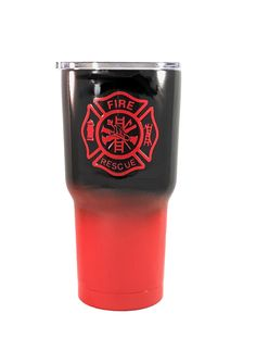 Firefighter - 30 oz Custom Ombre' Powder Coated Rtic Tumbler - (Logo is SEALED)