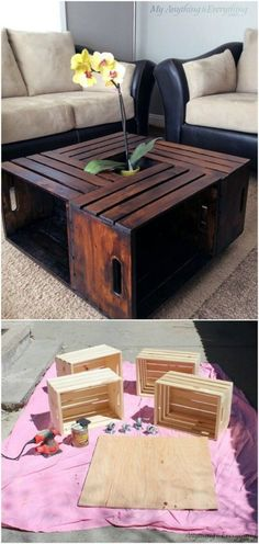 DIY - Coffee Table From Wooden Crates - Country Farmhouse Look Tutorial at: myan. - - DIY - Coffee Table From Wooden Crates - Country Farmhouse Look Tutorial at: myanythingandeverything Best Home Decor Ideas 2019 Best Model Home Decor i. Wooden Table Diy, Table En Bois Diy, Wooden Crate Coffee Table, Diy Coffee Table, Diy Table, Wooden Boxes, Ideas For Coffee Tables, Coffee Table Out Of Crates, Wood Table