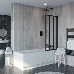 Black Framed Shower Screen Dumbfound Jacuzzi Loft Hinged Bath VictoriaPlum Com Decorating Ideas 1 Jacuzzi Bathtub, Bathtub Shower, Whirlpool Bathtub, Bathtubs, Bath Front Panel, Bath Panel, Straight Baths, Bath Shower Screens, Corner Tub