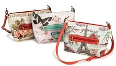 These Howard's bags are the perfect size! Scenery print textured vinyl cross body purse