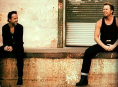 This is such a good picture of Lars Ulrich (l) and James Hetfield just chillin',  #metallica
