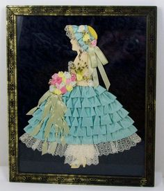 Ribbon Craft Paper Doll Old Frame Ribbon & by CuteAndSweetVintage