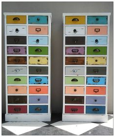 Quirky multi-coloured drawer cupboards are perfect to bring come colour into an interior. Storage Solutions, Storage Ideas, Storage Drawers, Cupboards, Beautiful Interiors, Color Splash, Beautiful Things, New Homes, Decor Ideas