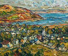 Vue sur Baie Saint-Paul, Charlevoix, by Raynald Leclerc Charlevoix, City Art, Art And Architecture, Original Paintings, Colours, Texture, Rock, Landscape, The Originals