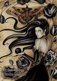 Jessica Galbreth Gothic Rose Ceramic Tile Art -- Limited Edition