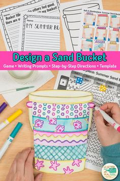 Check out this art game to design a sand bucket. Summer Art Projects, Easy Art Projects, Projects For Kids, Drawing Activities, Learning Activities, Bucket Filler Activities, Art Sub Plans, Early Finishers Activities, Arts Integration
