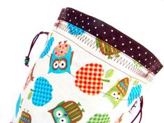 Knitting Project Bag Crochet Project Bag Tote Drawstring WIP - Owl School White $25