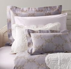 European Rosette Lattice & Vintage-Washed Percale Bedding Collection