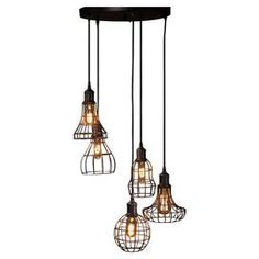 Featuring filament bulbs and mesh metal shades, this eye-catching cluster pendant is the perfect industrial addition to your kitchen island or dining room.    Product: PendantConstruction Material: Metal meshColour: BlackAccommodates: (5) Filament bulbs - includedDimensions:  Overall: 106.5 cm H  Pendant: 15 cm Diameter (largest)