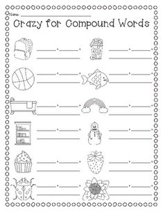 (free) This could be used at centers or as independent work. Students look at the pictures and write down the two words that are used to make picture, and then write down the compound word. Teaching Vocabulary, Teaching Grammar, Teaching Language Arts, Teaching Reading, Learning, First Grade Words, First Grade Reading, Second Grade, Grade 1