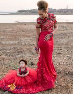 Breathtaking Venda Queen and her little princess African Wedding Attire, African Attire, African Wear, African Traditional Wedding Dress, Traditional Wedding Attire, Venda Traditional Attire, Traditional Outfits, African Dresses For Women, African Fashion Dresses