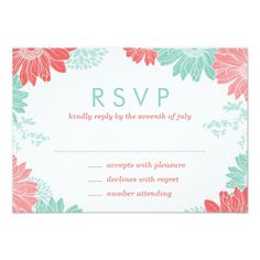 Mint and Coral Modern Floral Wedding RSVP Card Custom Announcements