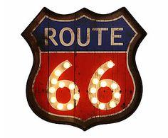 Placa Decorativa Route 66 - 42X43cm